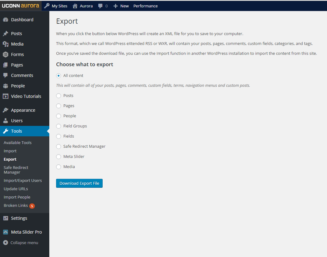 export page screenshot